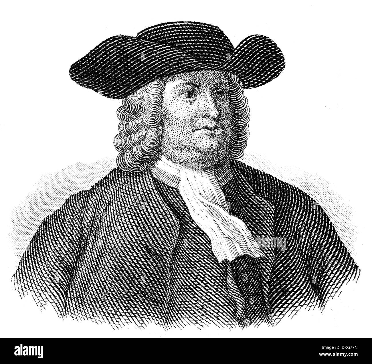 portrait of William Penn, 1644 - 1718, founder of the colony of Pennsylvania, - Stock Image