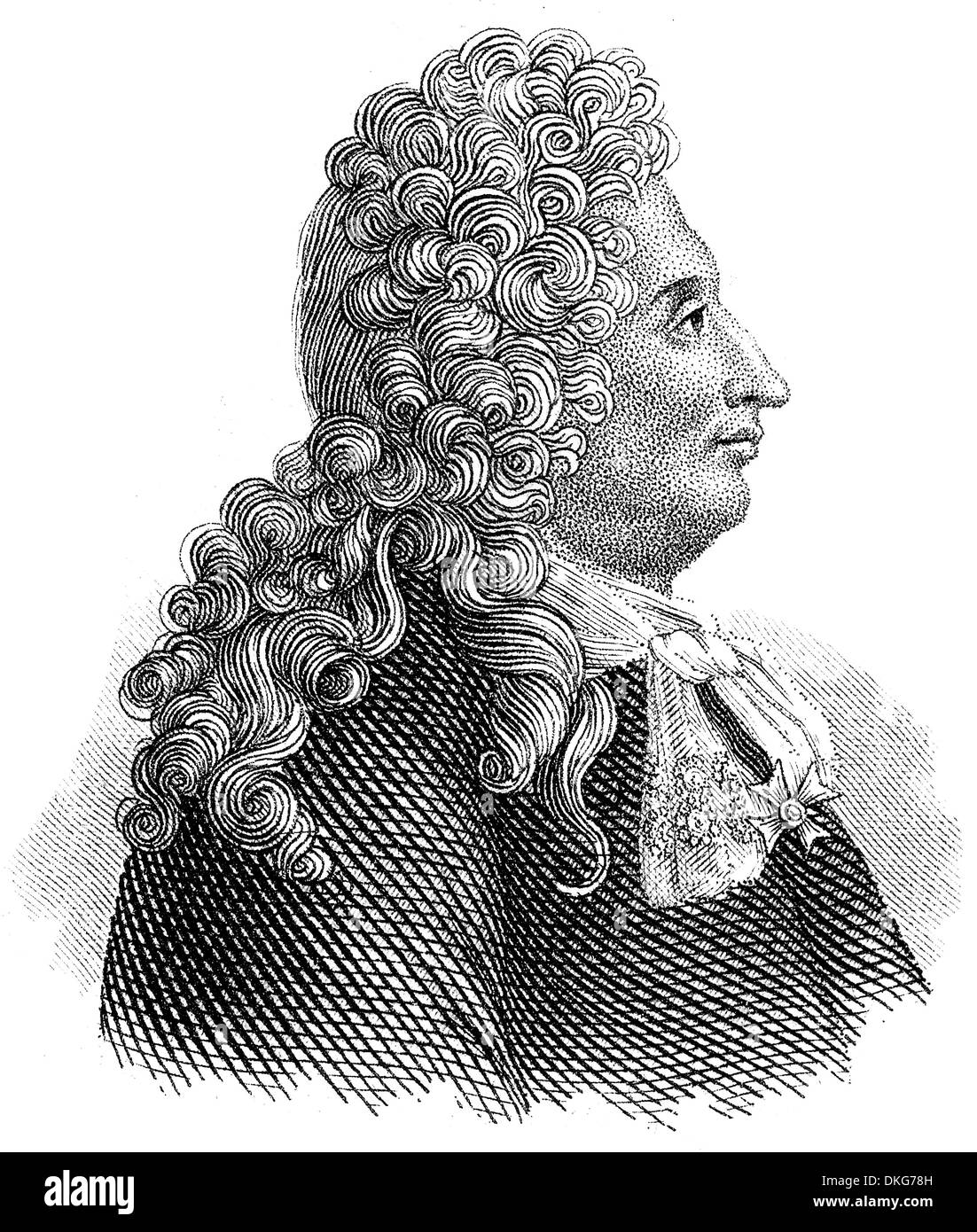 Portait of Jules Hardouin-Mansart, 1646 - 1708, a French architect of Baroque architecture - Stock Image