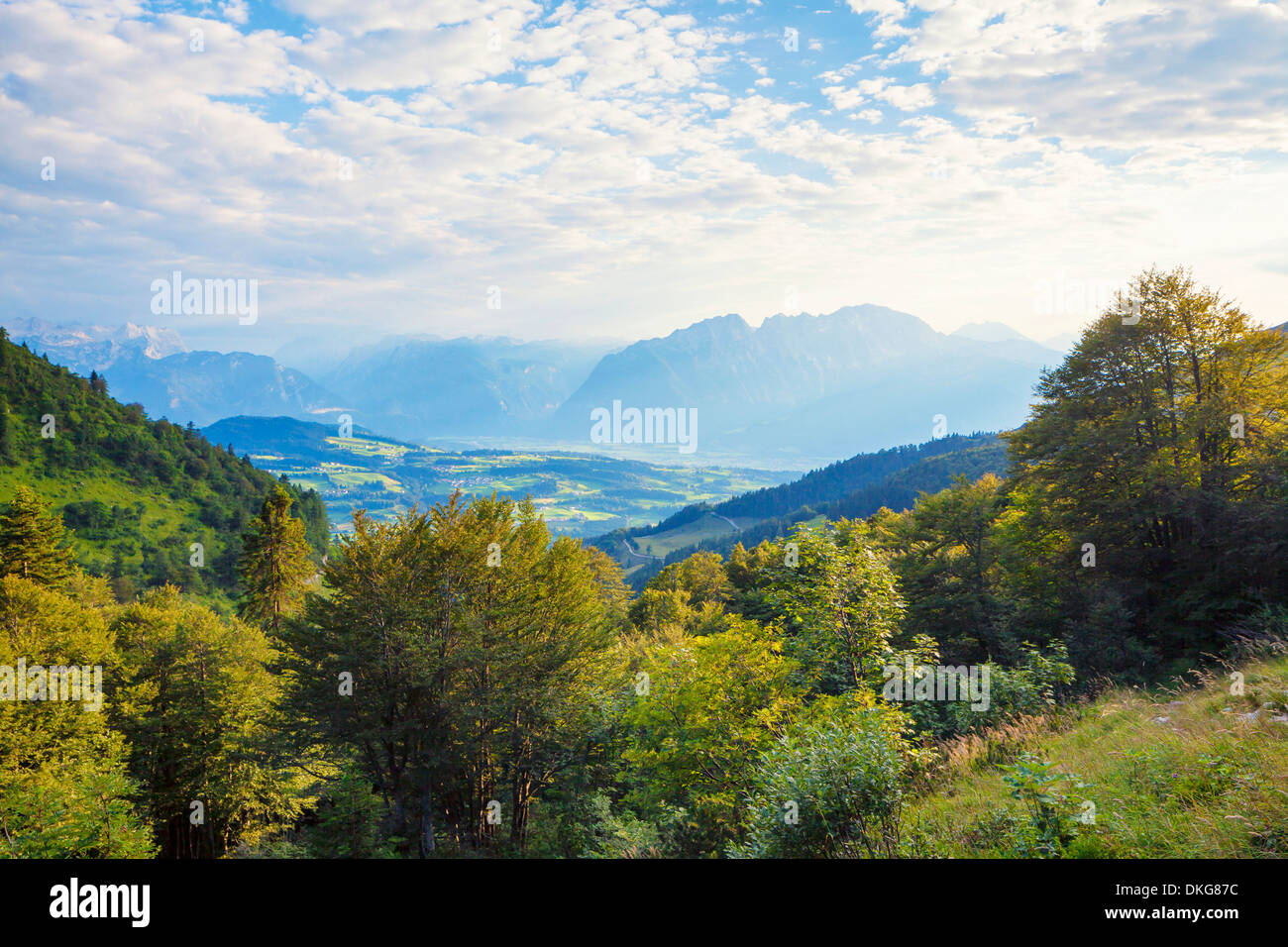 View over Salzachtal to Hoher Goell, Berchtesgaden Alps, Salzburger Land, Austria, Europe Stock Photo