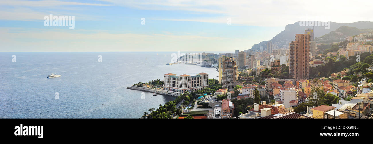Panoramic view of Monaco in the bright summer day - Stock Image