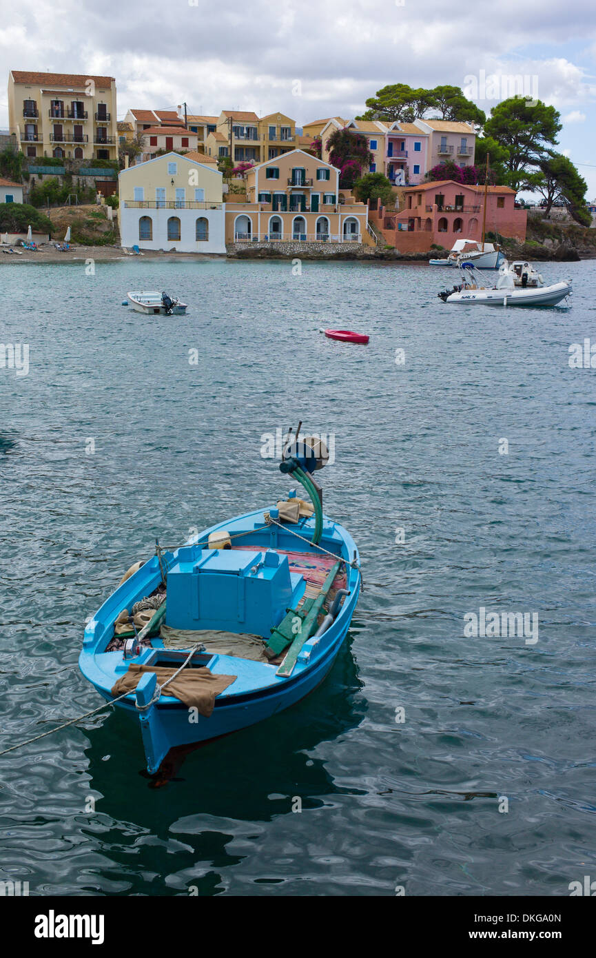 Boats moored in the harbour at Assos, Kefalonia, Greece - Stock Image