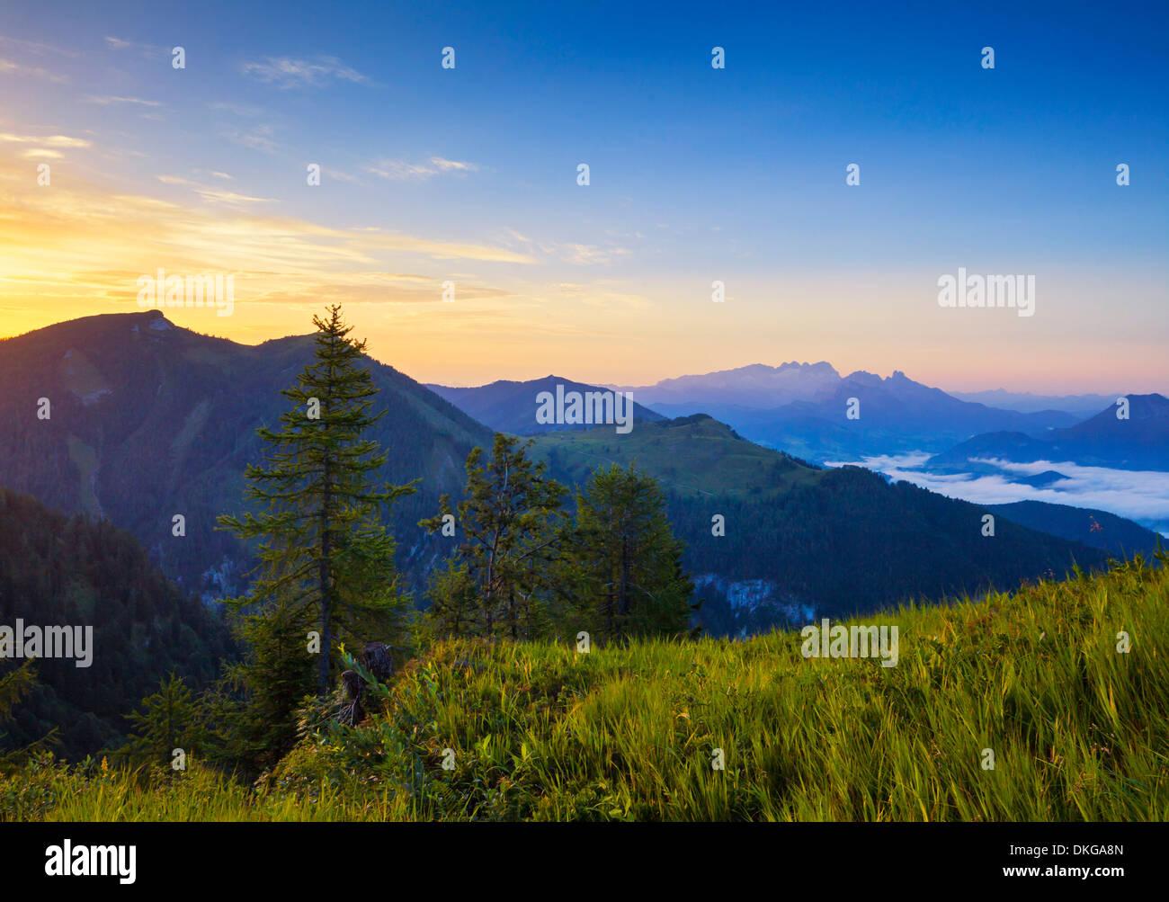 Sunrise above the Lammertal, Salzburg State, Austria Stock Photo