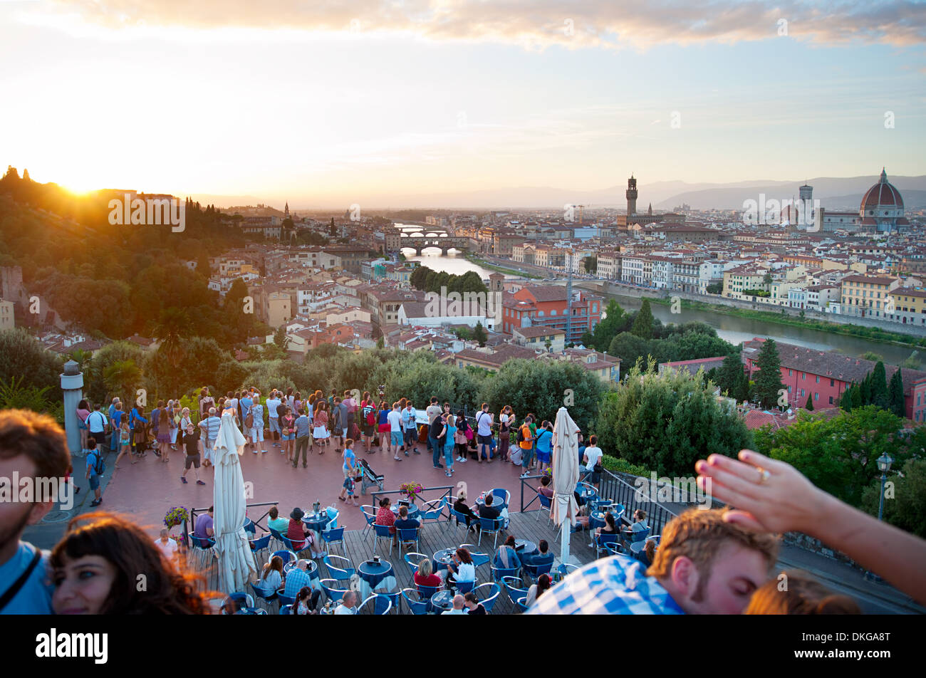 Tourist looking at Florence from the viewpoint - Stock Image