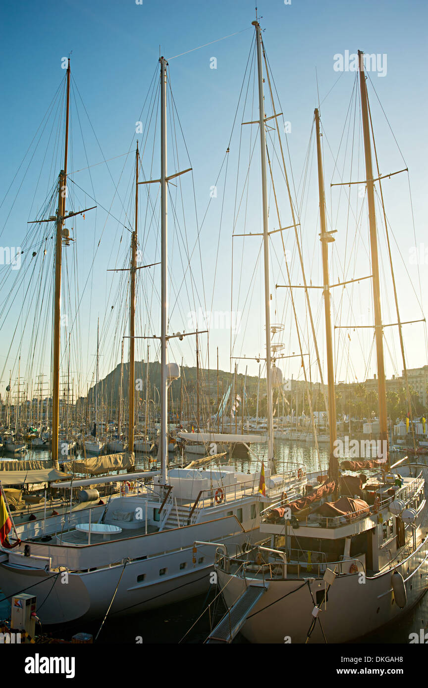 Gorgeous yachts moored in Barcelona, view on bay in sunset sun - Stock Image