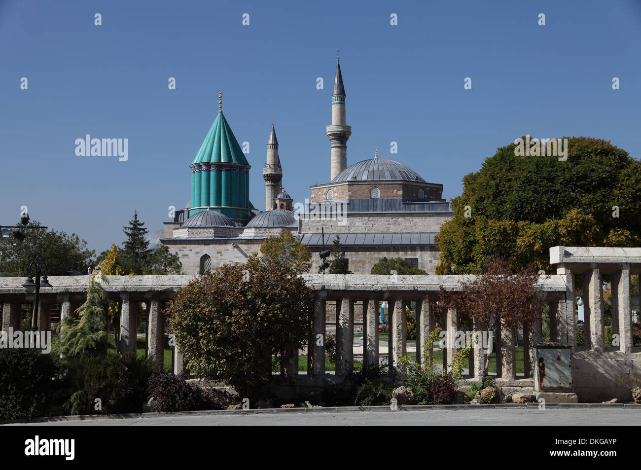 The Museum and Mausoleum of Mevlana, founder of the Whirling Dervishes sect, Konya, central Turkey - Stock Image
