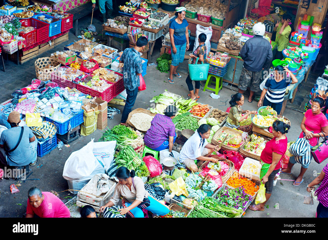 Commercial activities at Ubud market in Bali, Indonesia - Stock Image