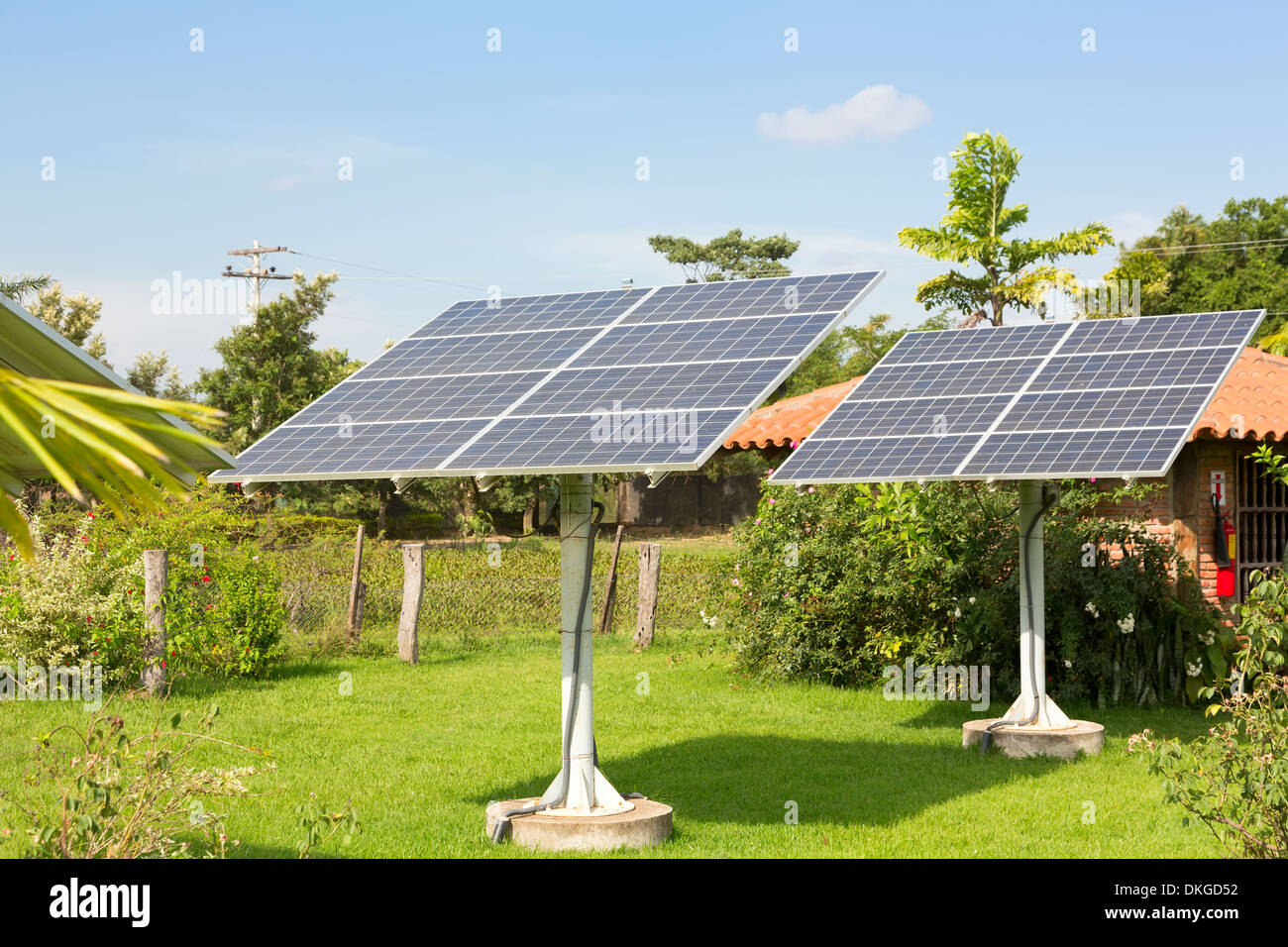 Panel of the solar batteries in the garden - Stock Image