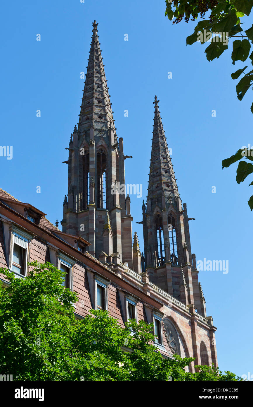 Towers of the Church Saints Pierre et Paul in Obernai, Alsace, France Stock Photo