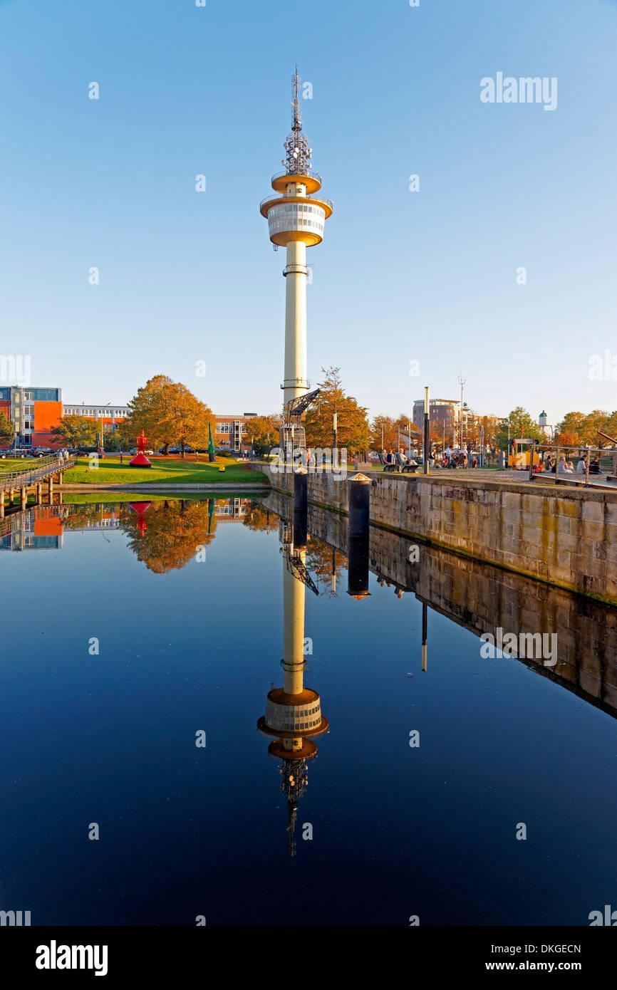 Hans-Scharoun-Platz and telecommunication tower, Alter Hafen, Bremerhaven, Germany, Europe Stock Photo
