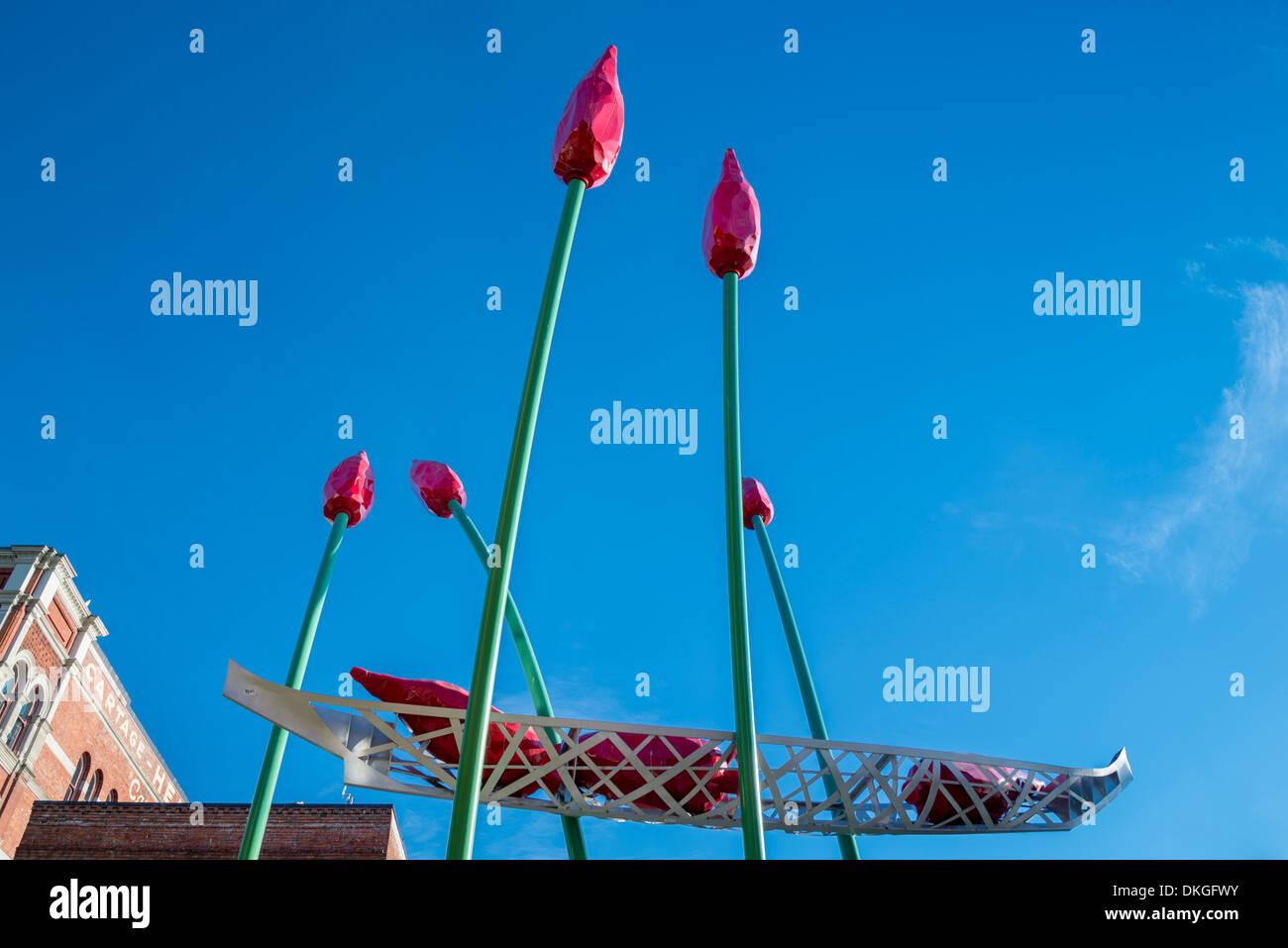 Tulip sculpture, Bastion Square, Victoria, Vancouver Island, British Columbia, Canada Stock Photo