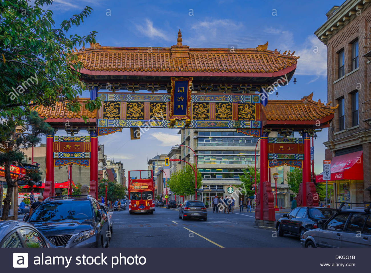 'The Gates of Harmonious Interest', Chinatown, Victoria, British Columbia, Canada - Stock Image