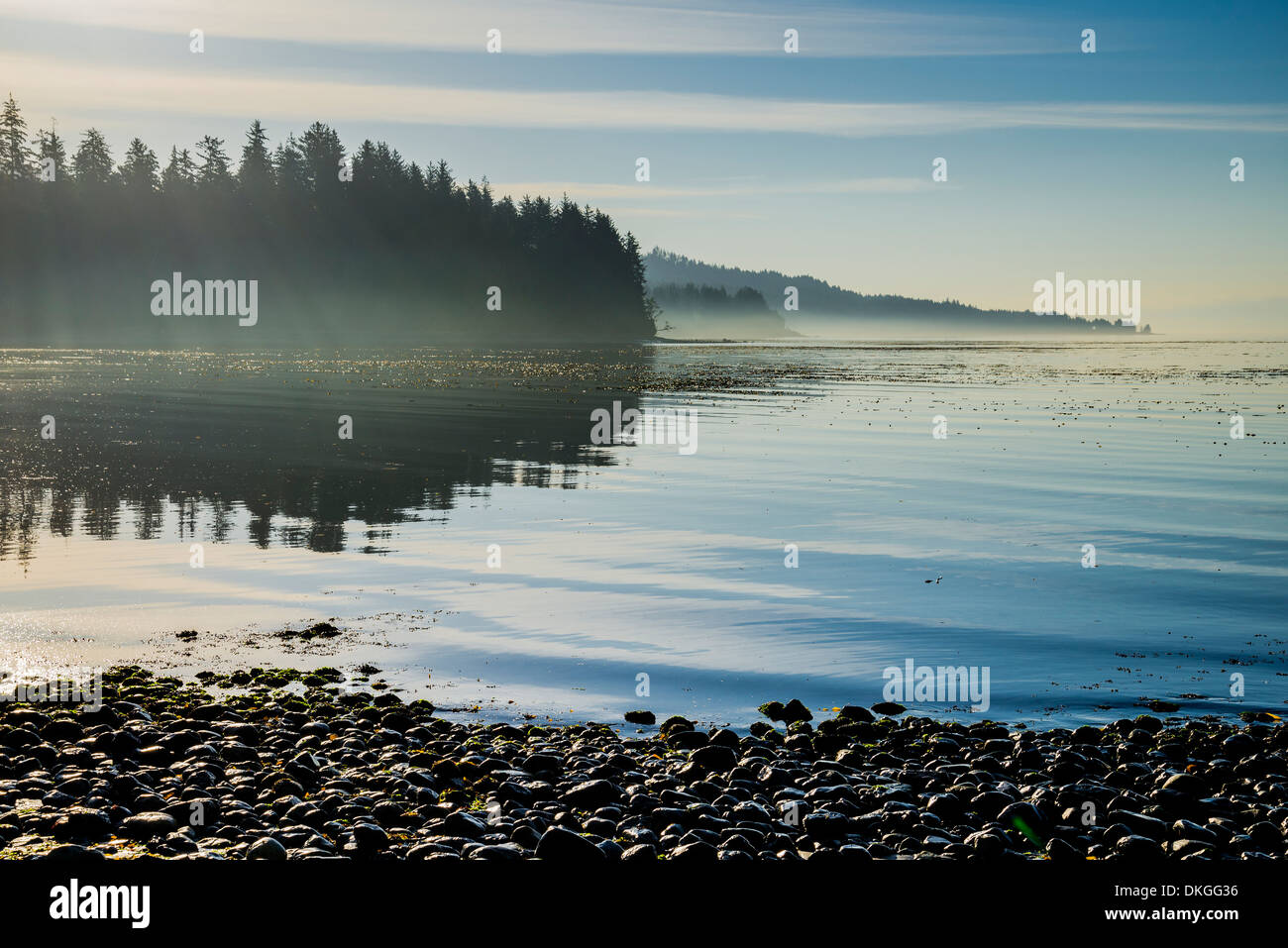 Pebble beach, Jordan River, Vancouver Island, British Columbia, Canada - Stock Image