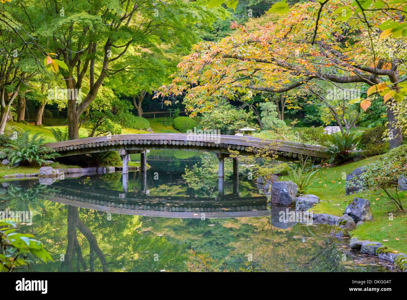Bridge over pond, Nitobe Memorial Garden, a traditional Japanese garden UBC, Vancouver, British Columbia, Canada