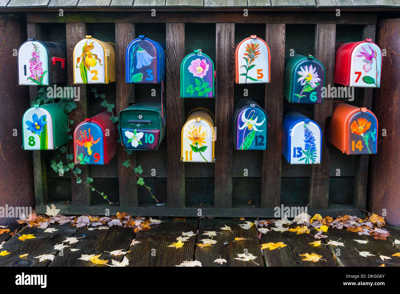 Painted mailboxes for houseboat residents, Granville Island, Vancouver, British Columbia, Canada - Stock Image