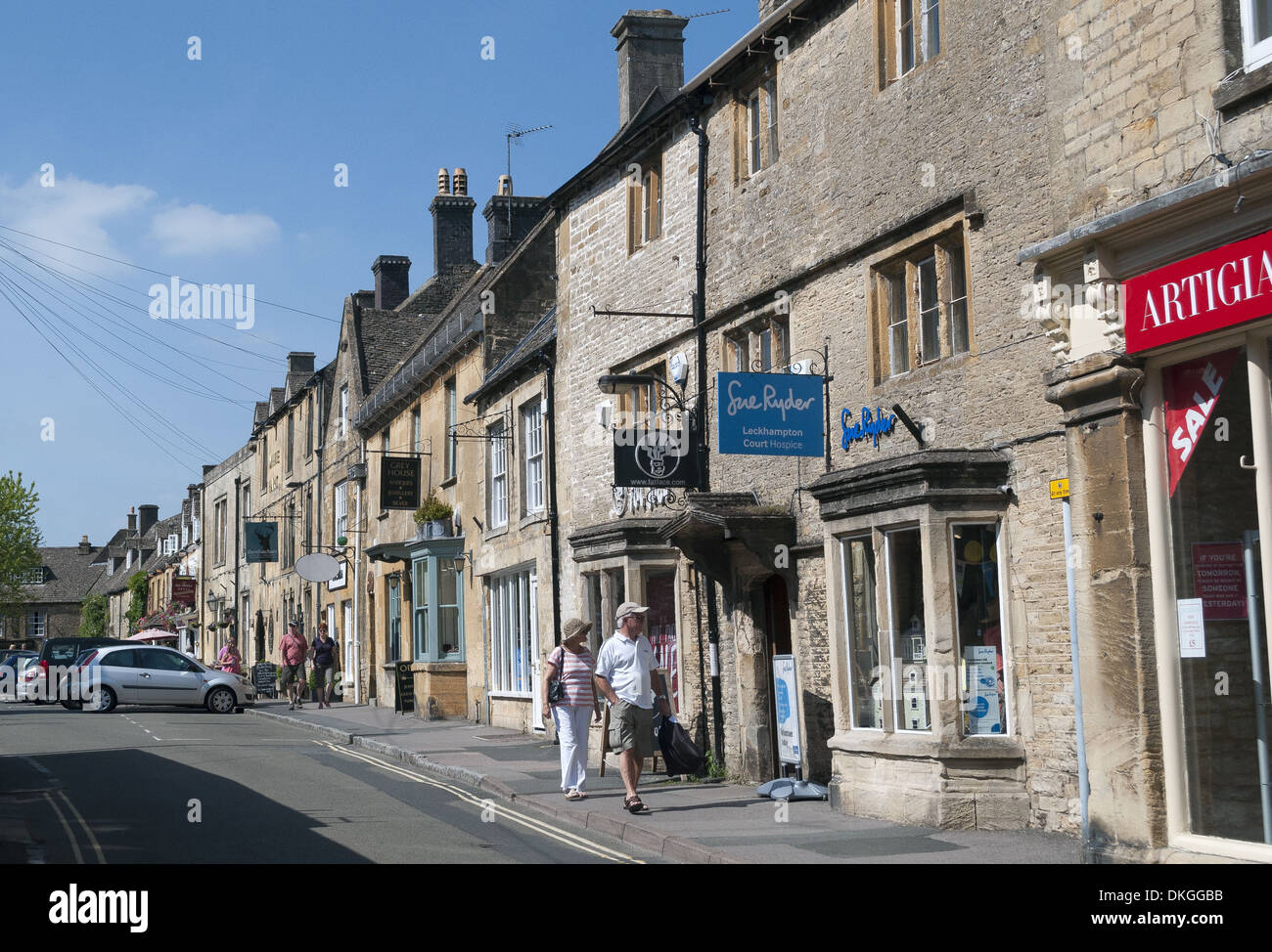 High street shops in the small market town of Stow-On-The-Wold in Gloucestershire, England Stock Photo