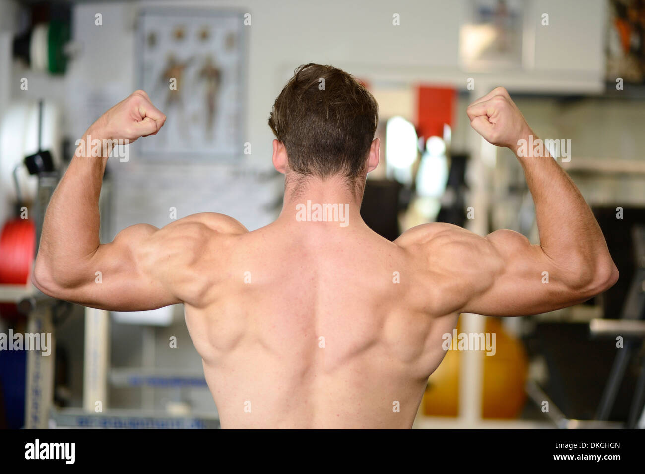 Young man posing in fitness center, rear view - Stock Image