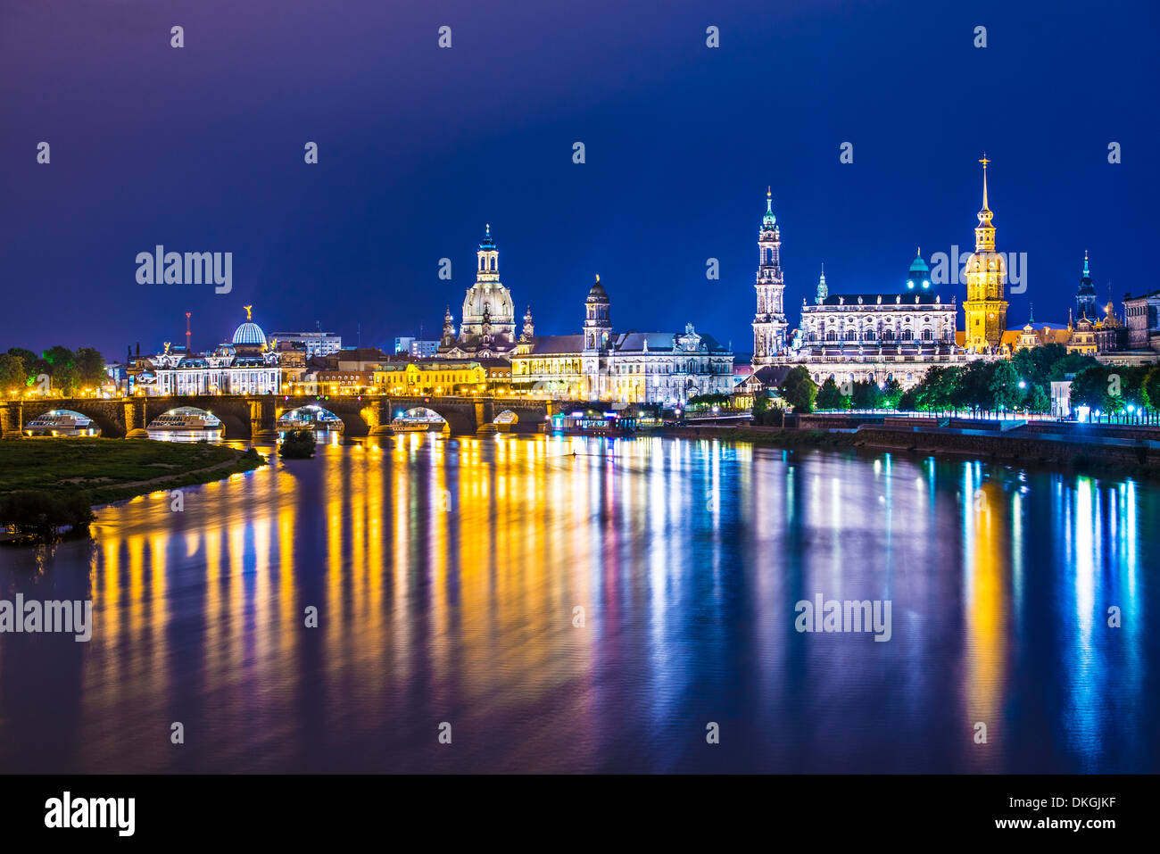 Dresden, Germany above the Elbe River. - Stock Image