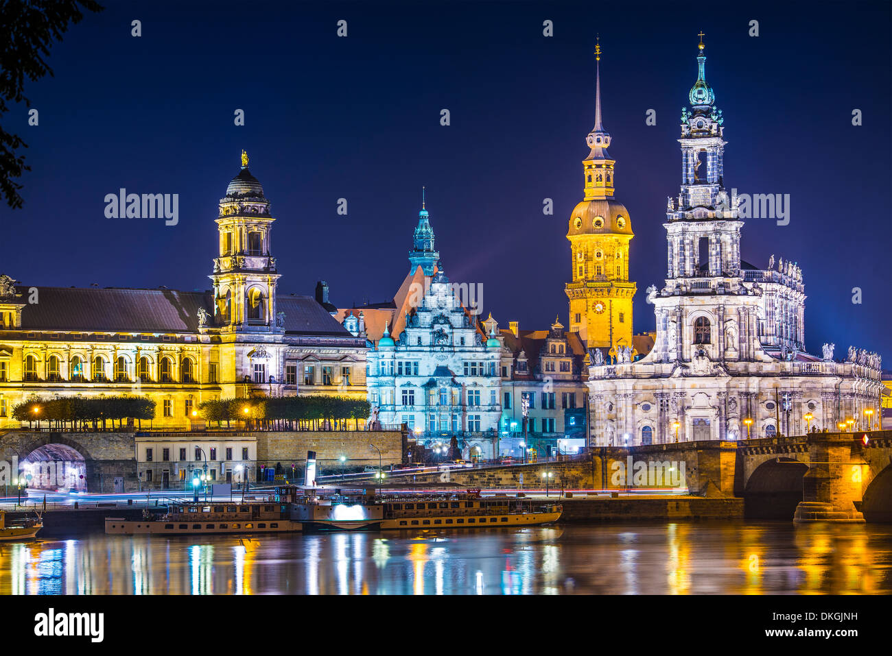 Dresden, Germany above the Elbe River. Stock Photo