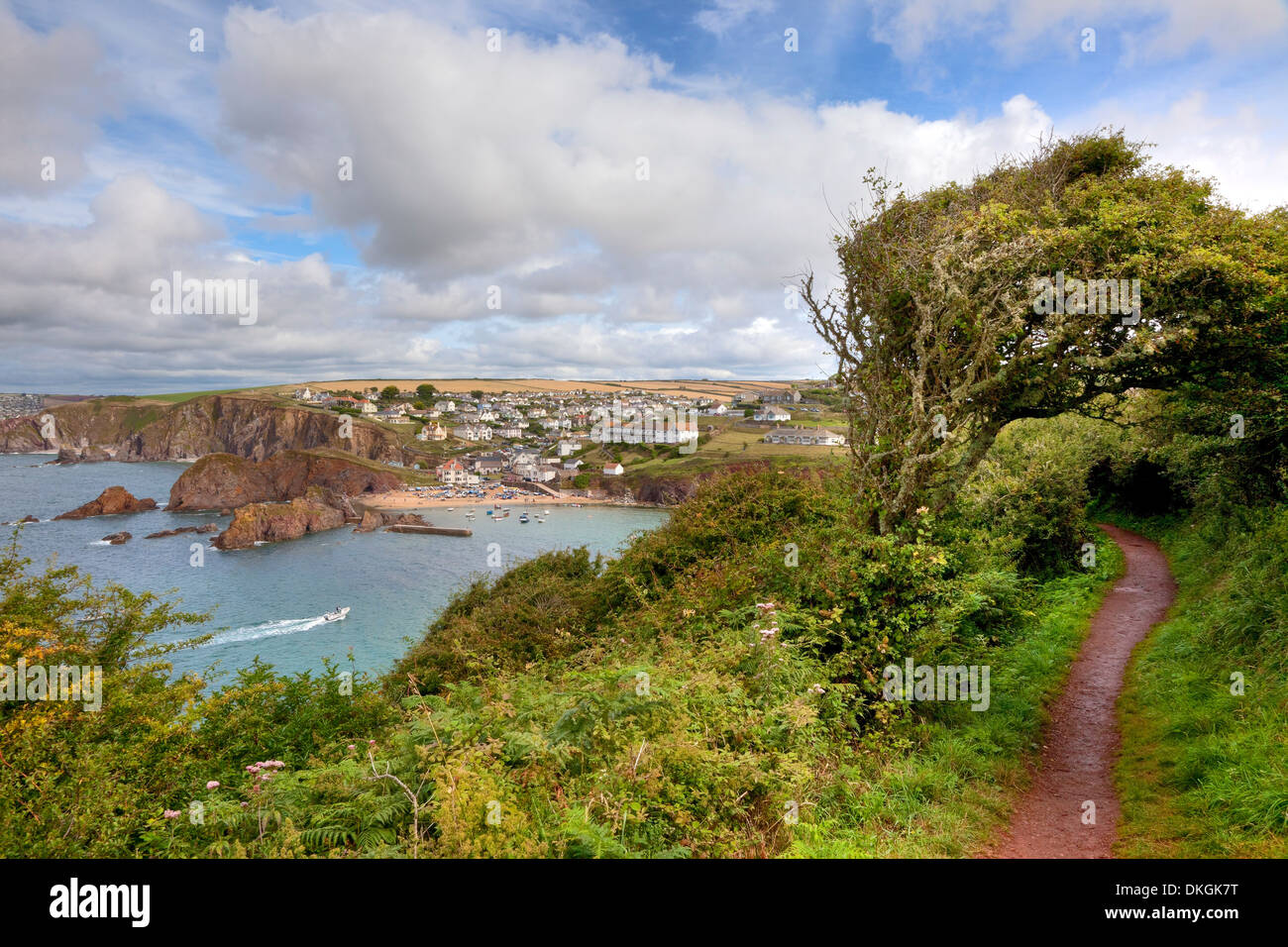 Looking towards the popular seaside resort of Hope Cove, Devon, England. - Stock Image