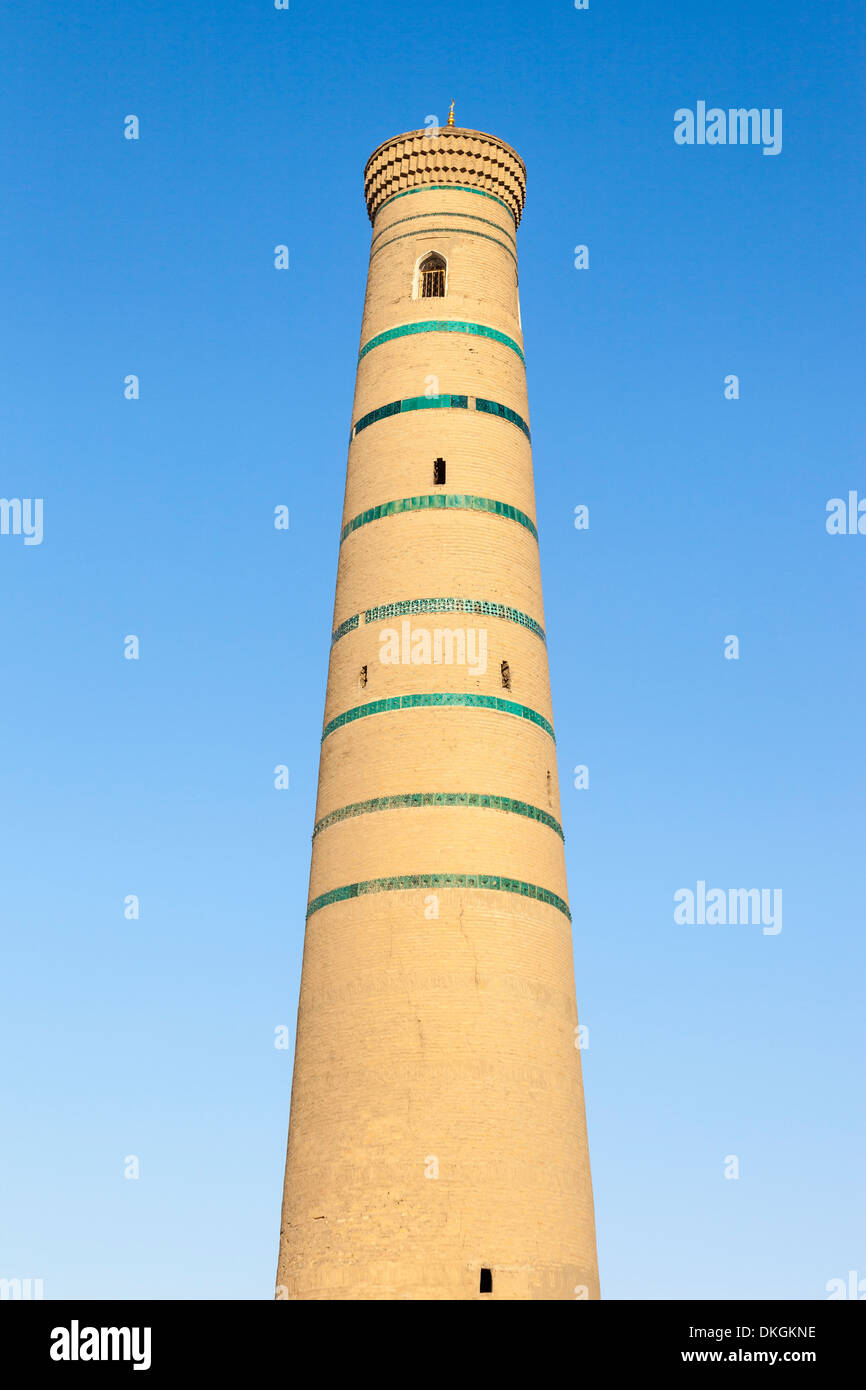 Minaret of Juma Mosque, also known as Juma Masjidi Va Minorasi, Ichan Kala, Khiva, Uzbekistan - Stock Image