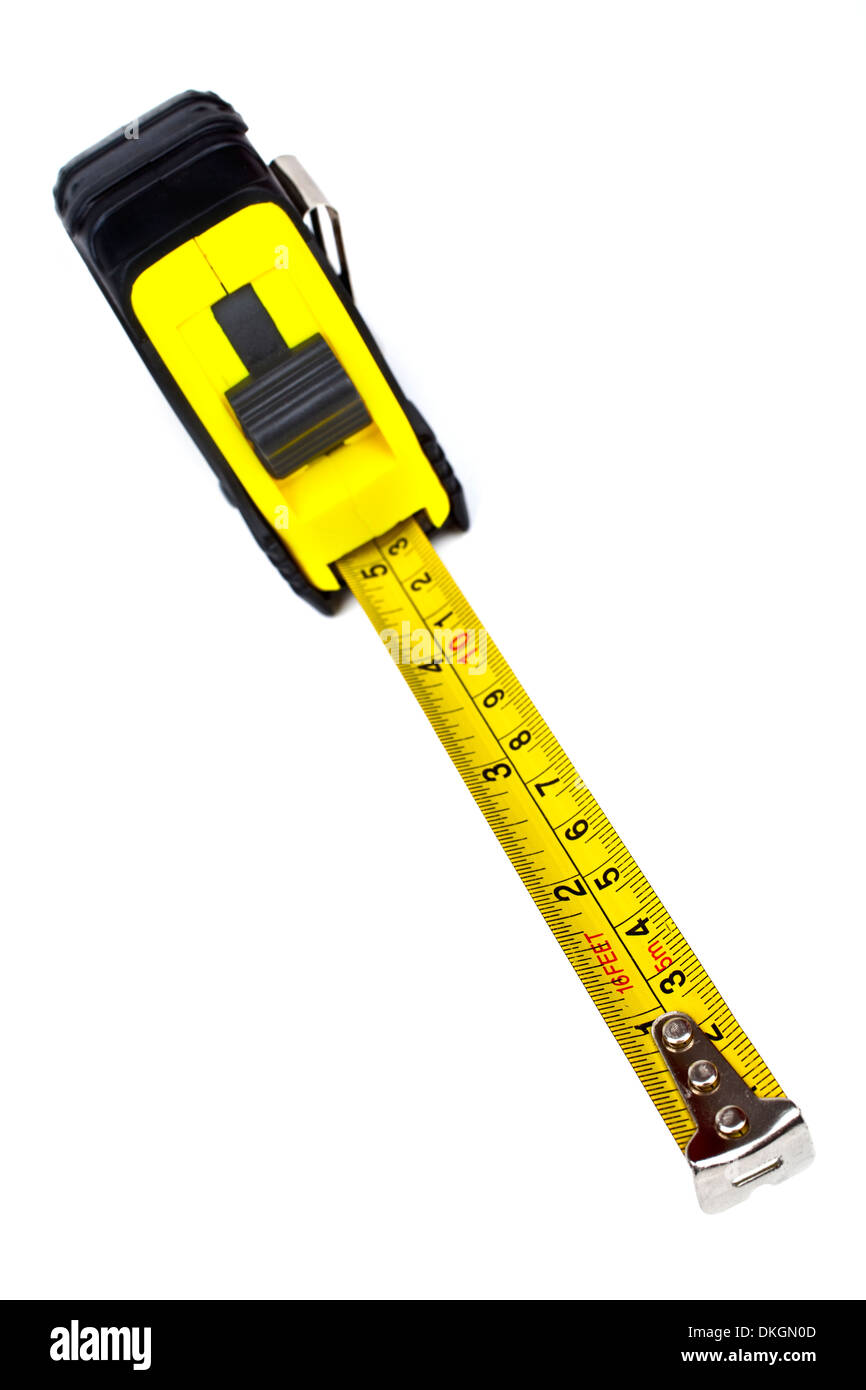 A tape measure on a white background. Stock Photo