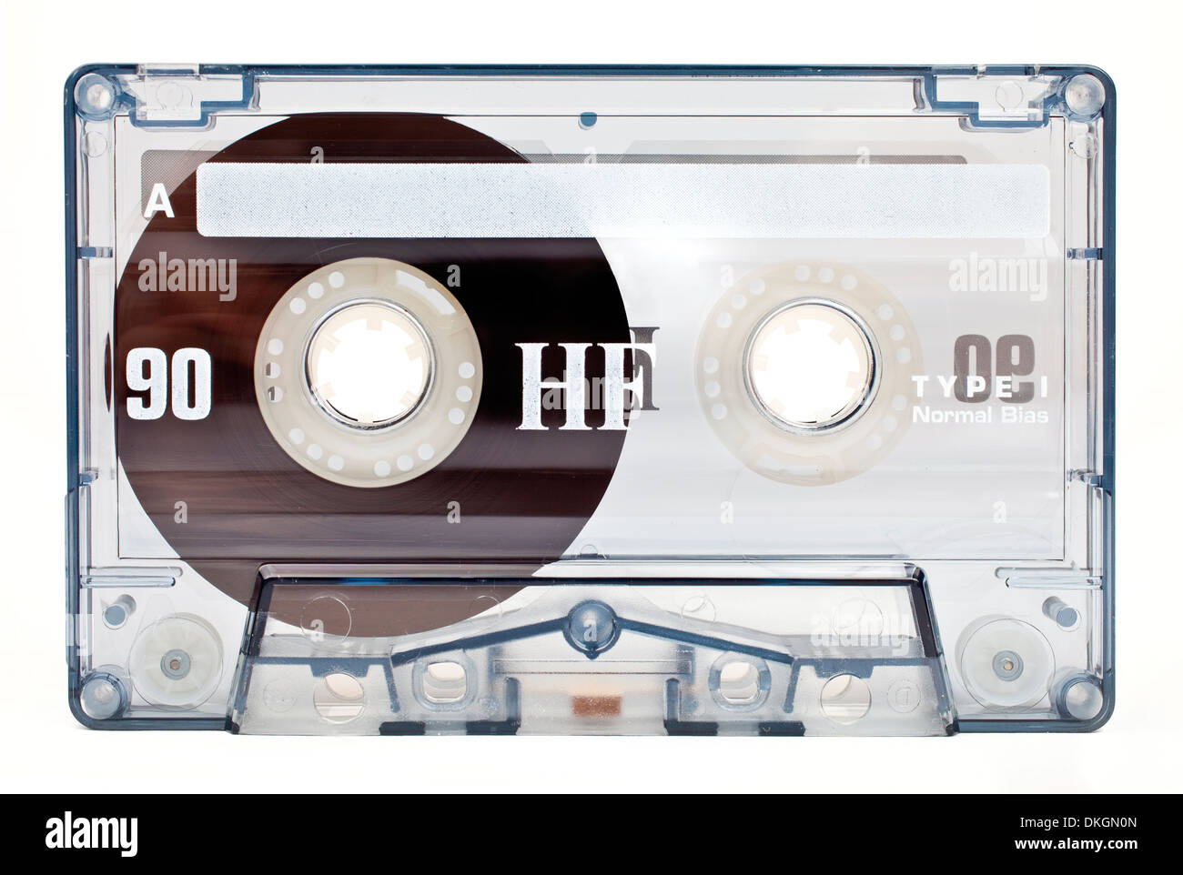 An old style Audio Tape on a white background. - Stock Image