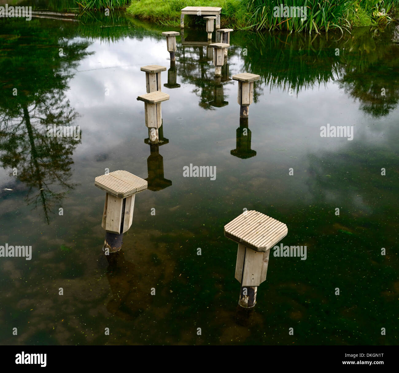 wood wooden posts steps stepping path pond water feature garden gardening sculpture context lead leading loughcrew gardens - Stock Image