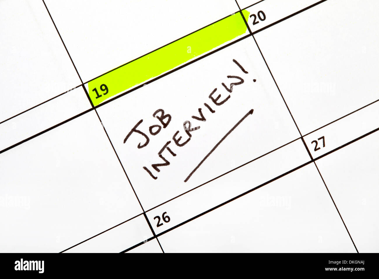 Date for a Job Interview written on a Calendar. - Stock Image