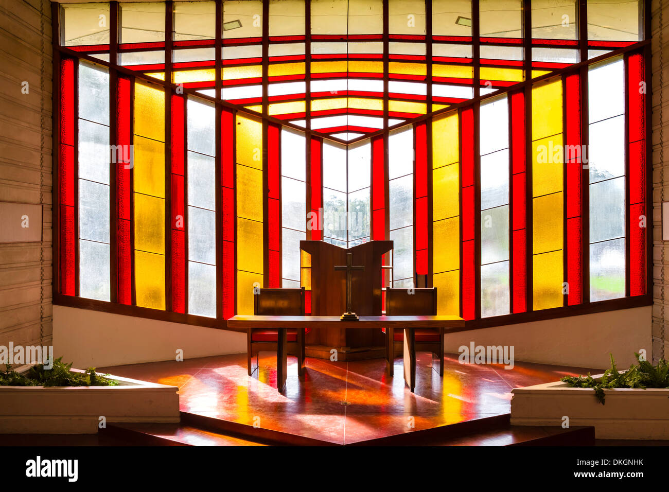 Stained glass windows, William H Danforth Chapel, Frank Lloyd Wright Campus at Florida Southern College, Lakeland, Florida, USA - Stock Image