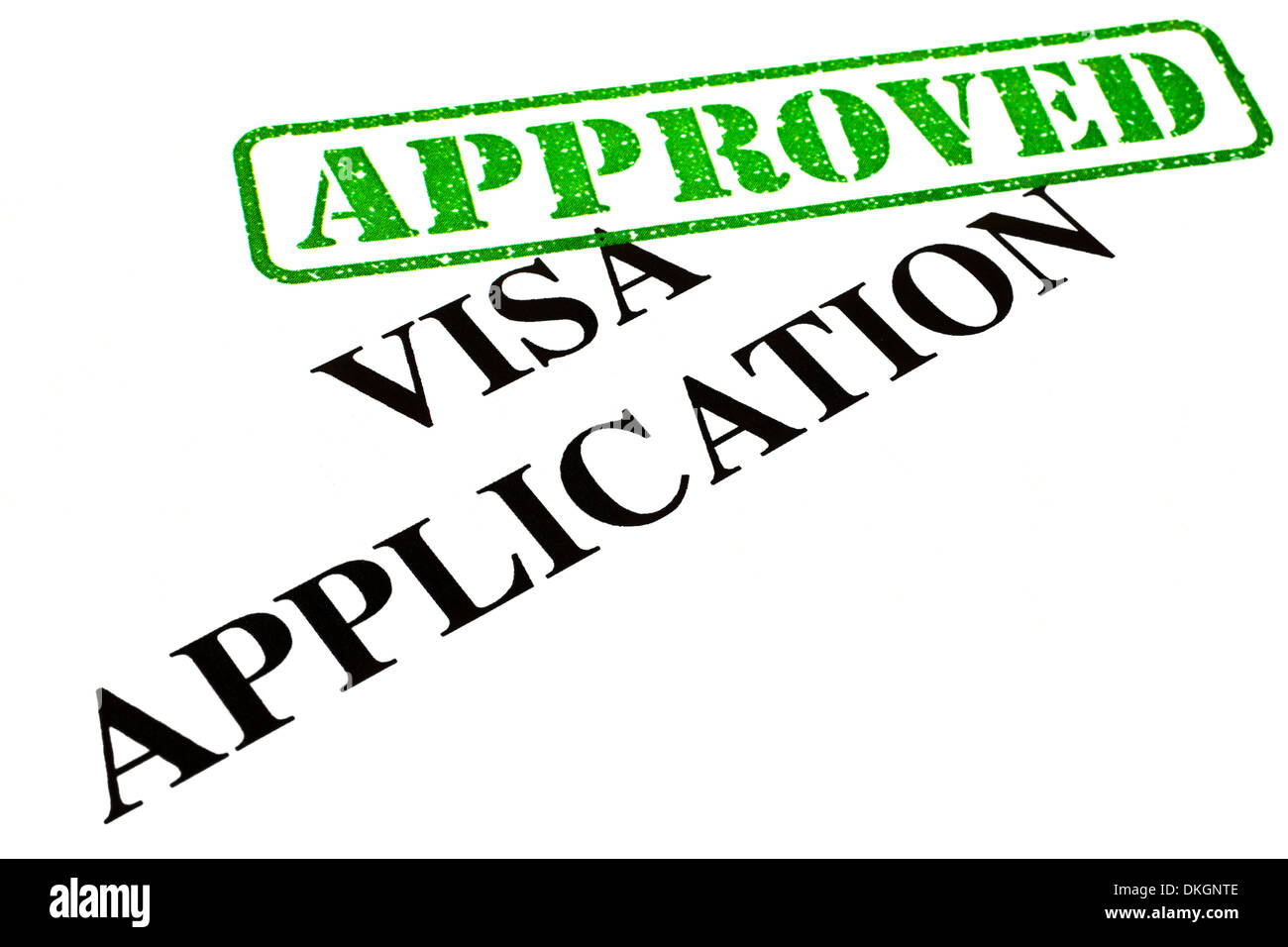 A close-up of an APPROVED Visa Application document. Stock Photo