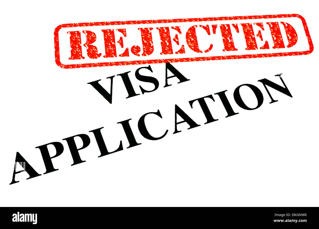 A close-up of a REJECTED Visa Application document. Stock Photo