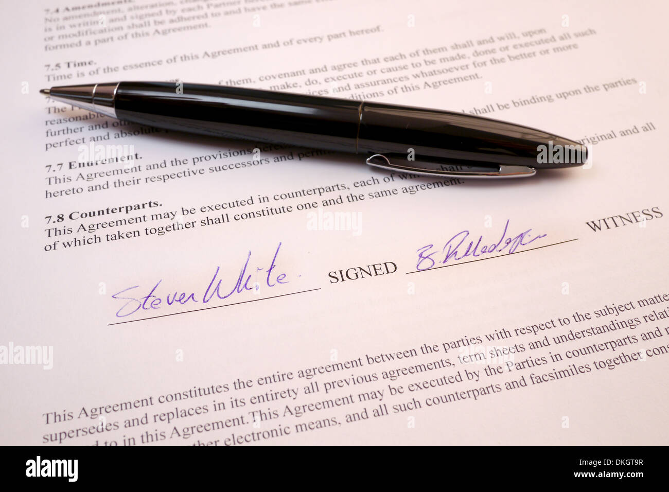 signatures on legal document - Stock Image