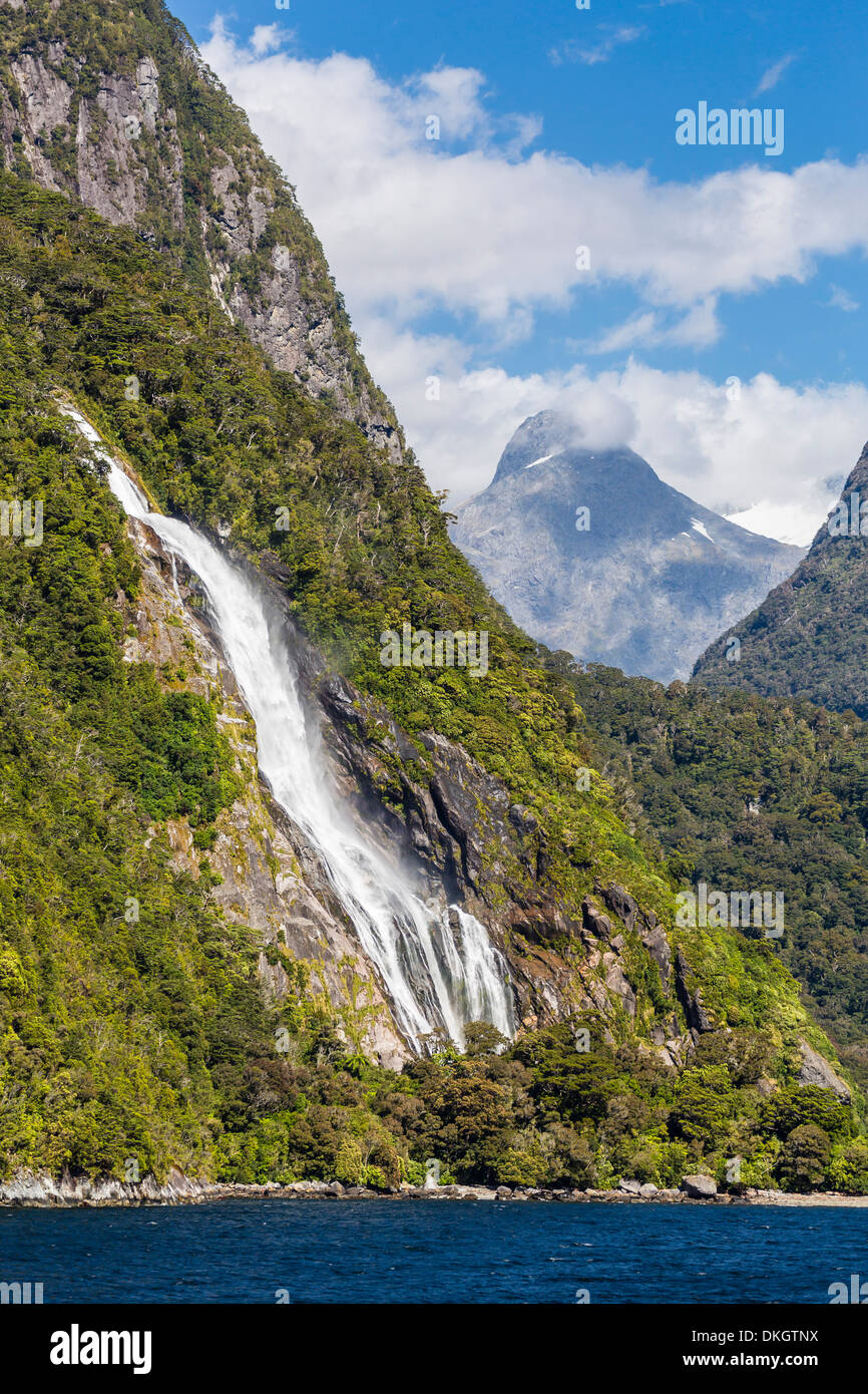 Lady Bowen Waterfall in Milford Sound, Fiordland National Park, UNESCO World Heritage Site, South Island, New Zealand, Pacific - Stock Image
