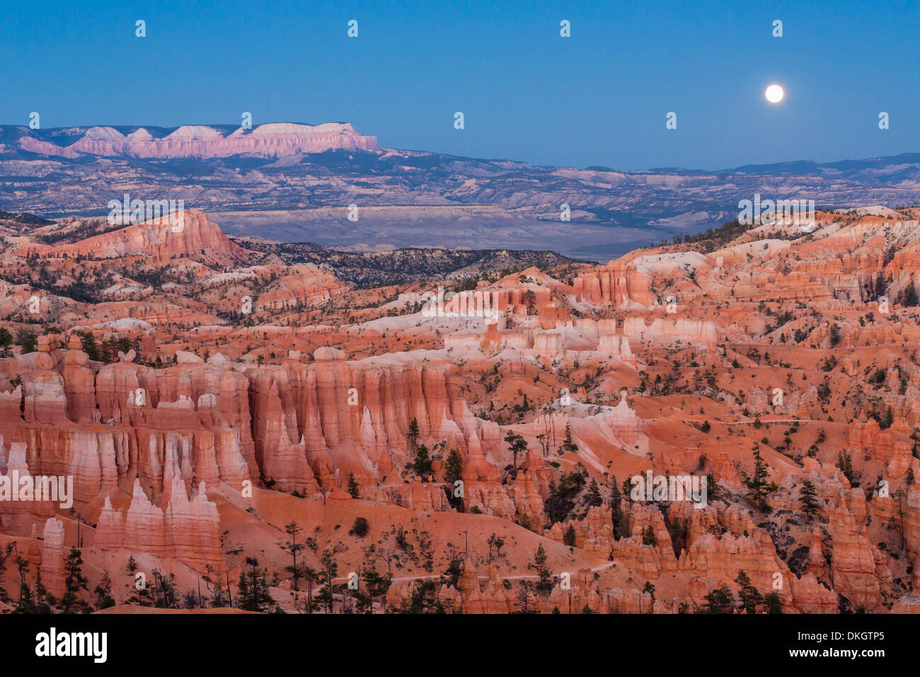 Moonrise over Bryce Canyon Amphitheater from Sunrise Point, Bryce Canyon National Park, Utah, USA - Stock Image