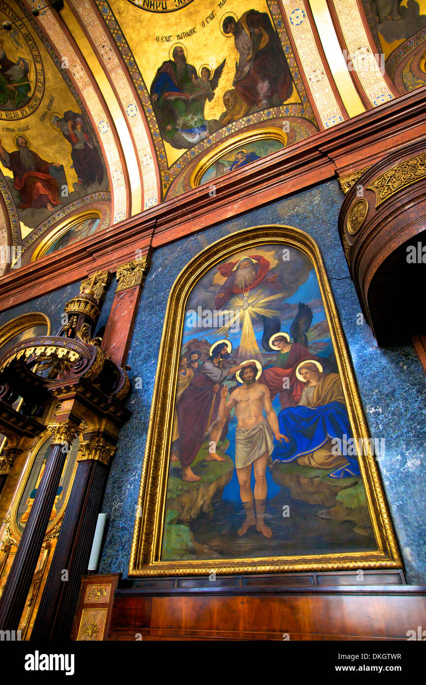 Interior of Holy Trinity Greek Orthodox Church, Vienna, Austria, Europe - Stock Image
