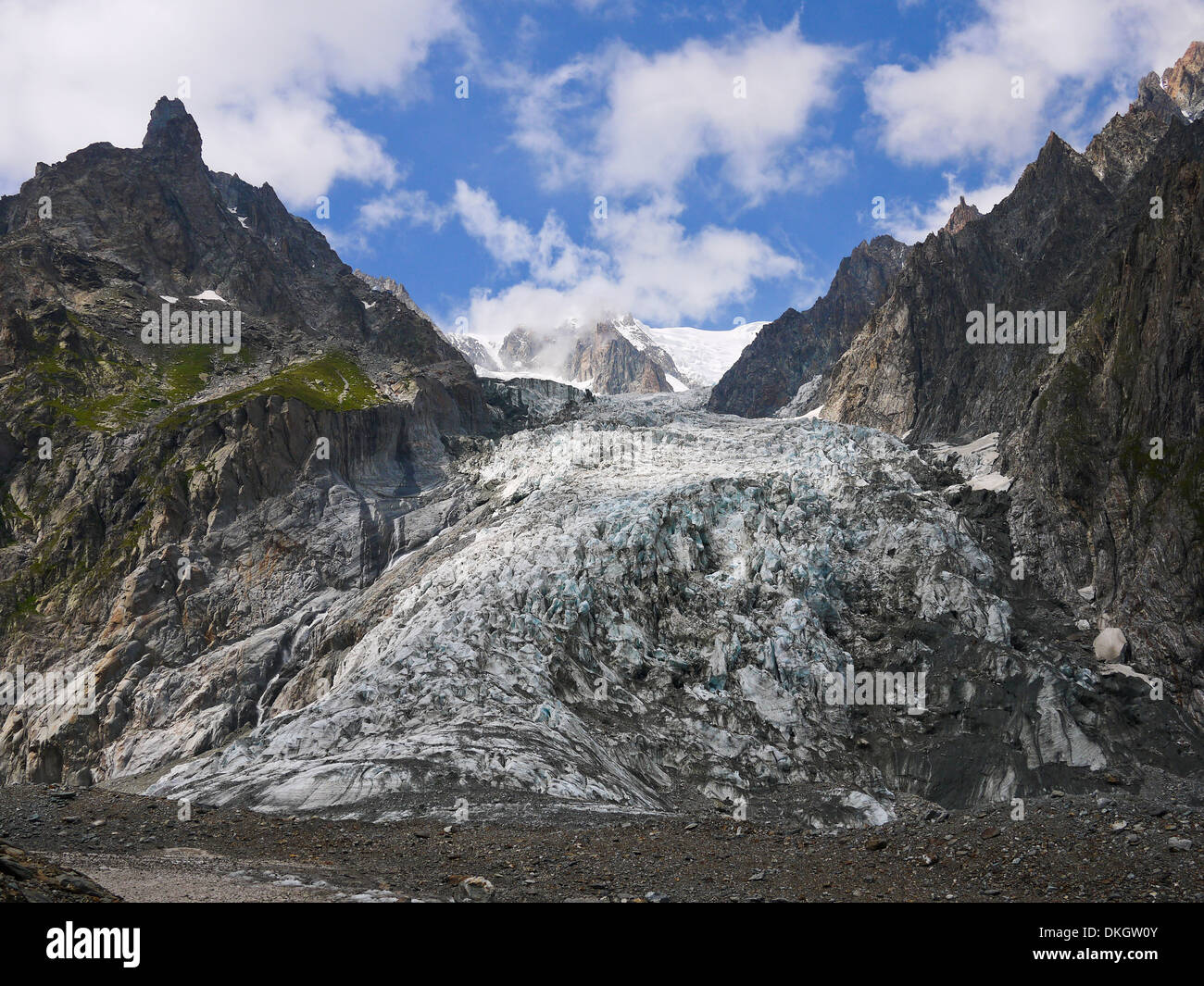 Glacier in the Mount Blanc complex, Val Veny, Alps Mountains - Stock Image
