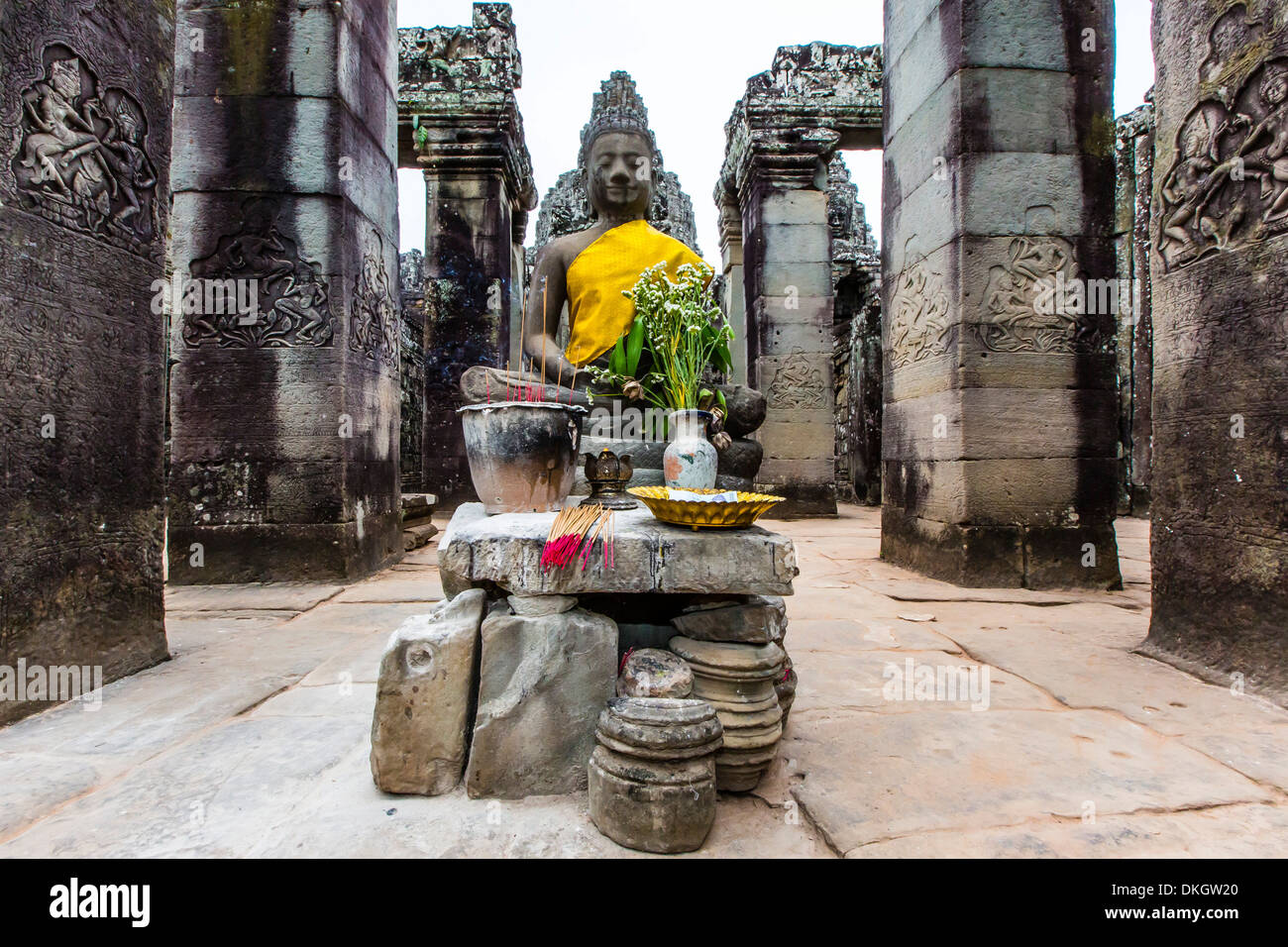 Shrine in Bayon Temple in Angkor Thom, Angkor, UNESCO World Heritage Site, Siem Reap Province, Cambodia, Southeast Asia - Stock Image