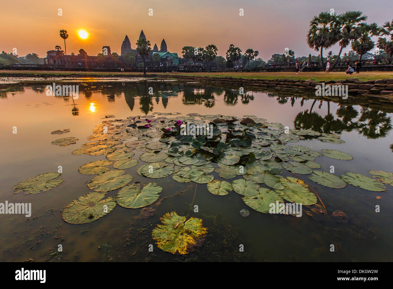 Sunrise over Angkor Wat, Angkor, UNESCO World Heritage Site, Siem Reap Province, Cambodia, Indochina, Southeast Asia, Asia - Stock Image