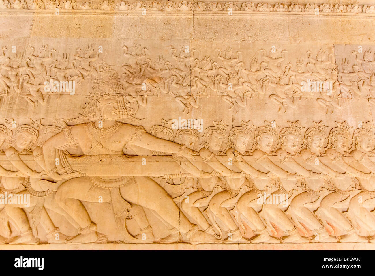 Bas-relief frieze at Angkor Wat, Angkor, UNESCO World Heritage Site, Siem Reap Province, Cambodia, Southeast Asia - Stock Image