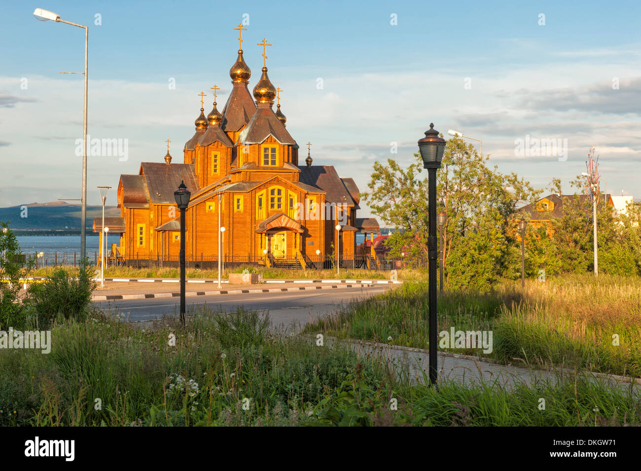 Orthodox Cathedral of the Holy Trinity, Siberian city Anadyr, Chukotka Province, Russian Far East, Eurasia - Stock Image
