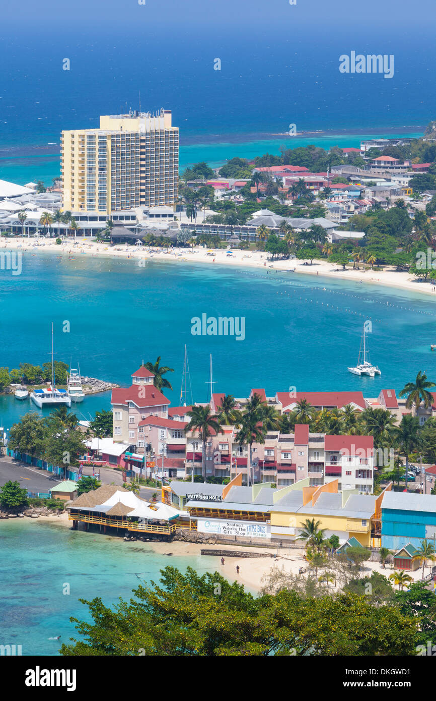Elevated view over city and coastline, Ocho Rios, Jamaica, West Indies, Caribbean, Central America - Stock Image