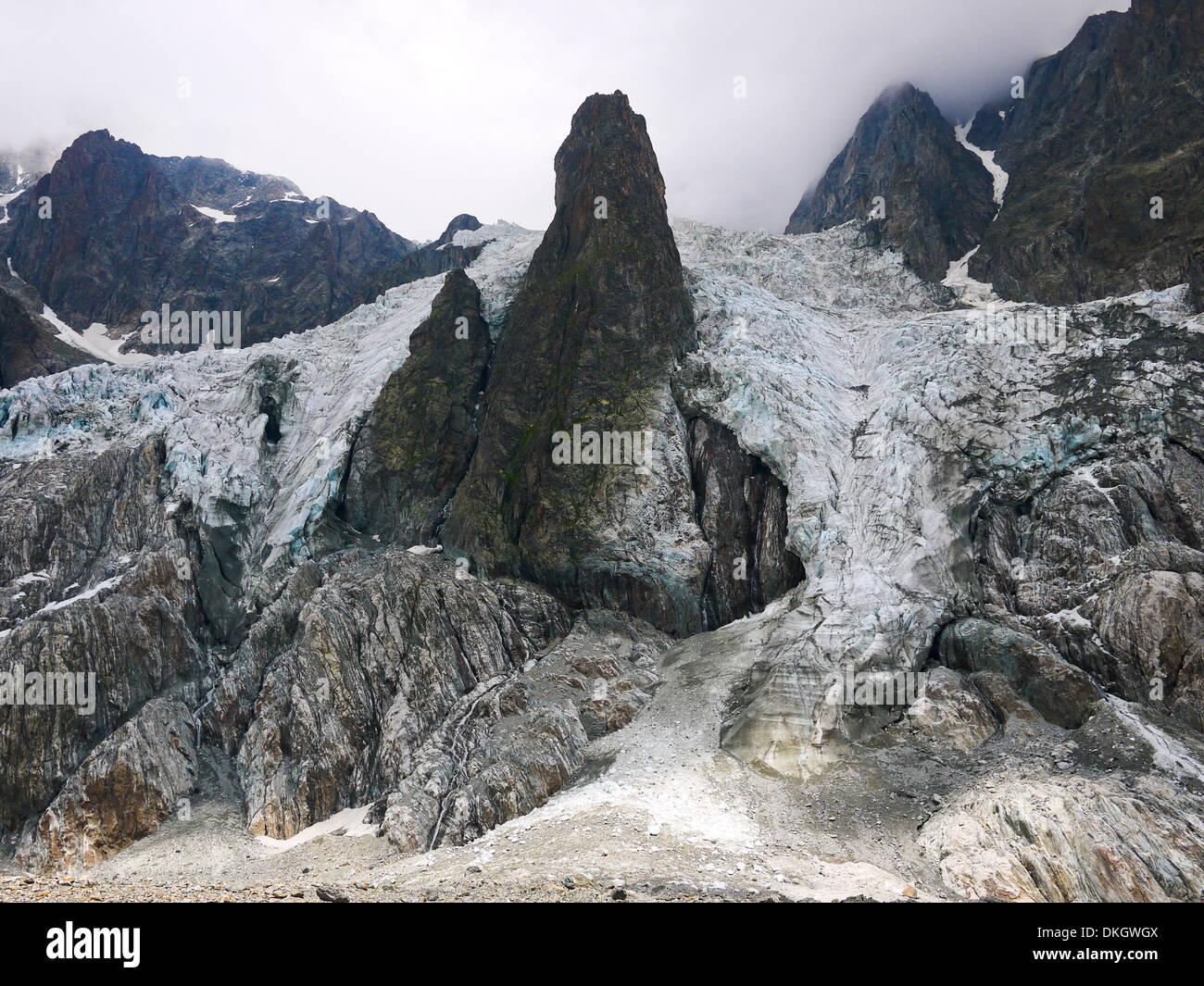 Glacier in the Mount Blanc complex, Val Veny, Alps - Stock Image