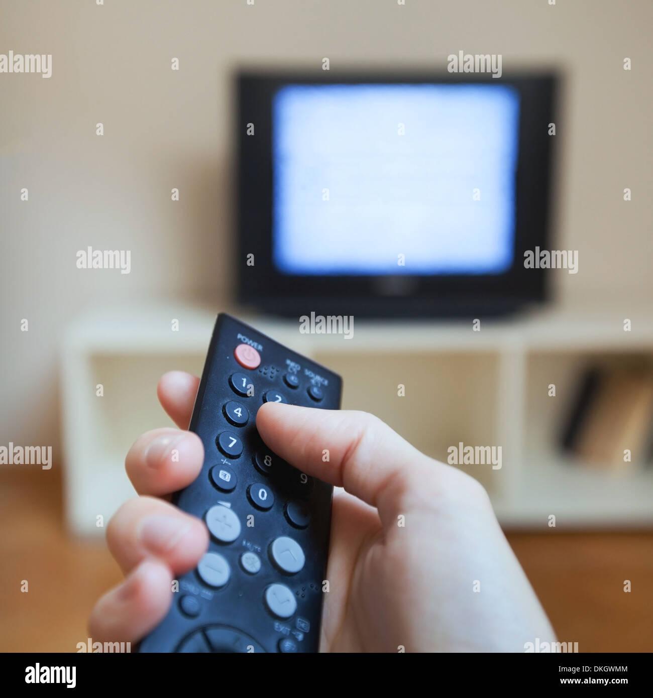 watching tv - Stock Image