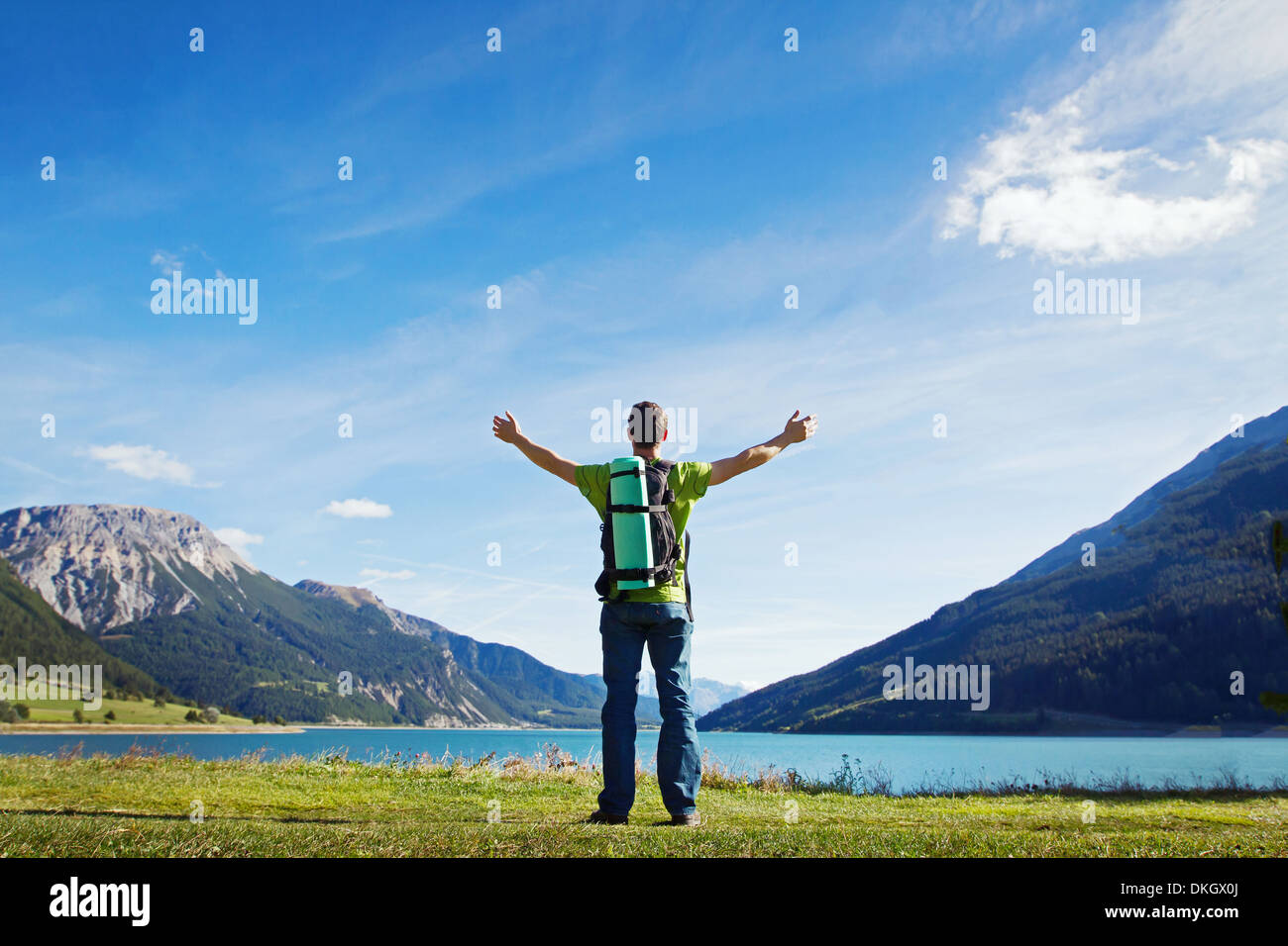 traveler with backpack - Stock Image