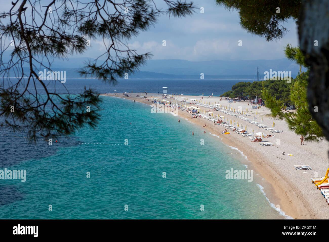 Bol, Ziatni Rat beach, Brac Island, Dalmatian Coast, Croatia, Europe - Stock Image