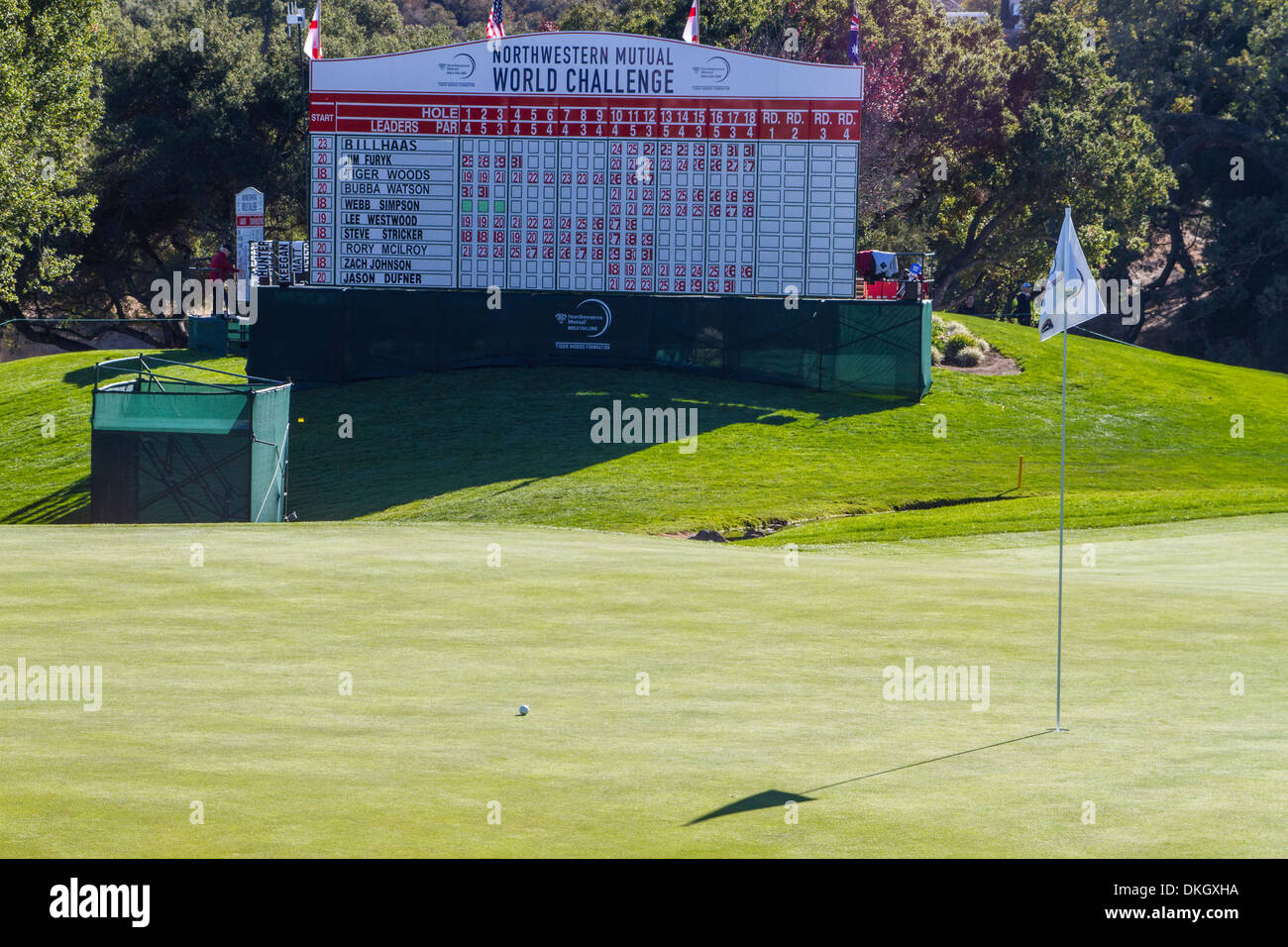 The 18th  Green at the 2013 Northwestern Mutual Challenge at Sherwood Country Club in Thousand Oaks California - Stock Image