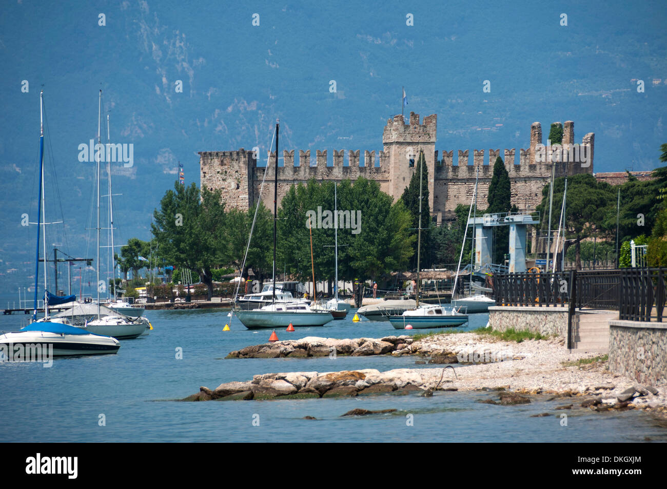 The Castle at Torre del Benaco, Lake Garda, Italian Lakes, Veneto, Italy, Europe - Stock Image