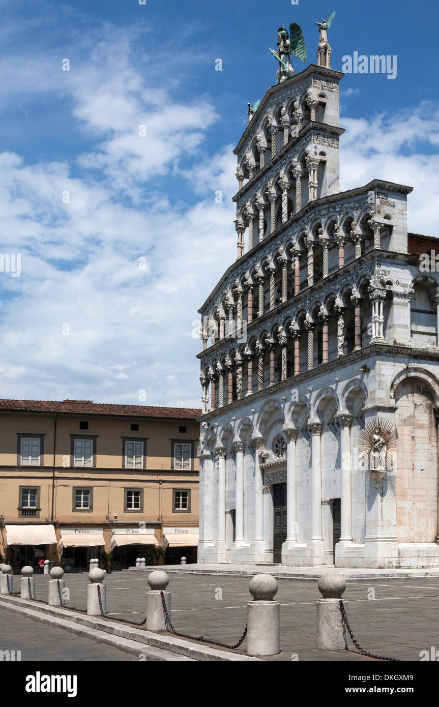 Facade of San Michele, Lucca, Tuscany, Italy, Europe - Stock Image
