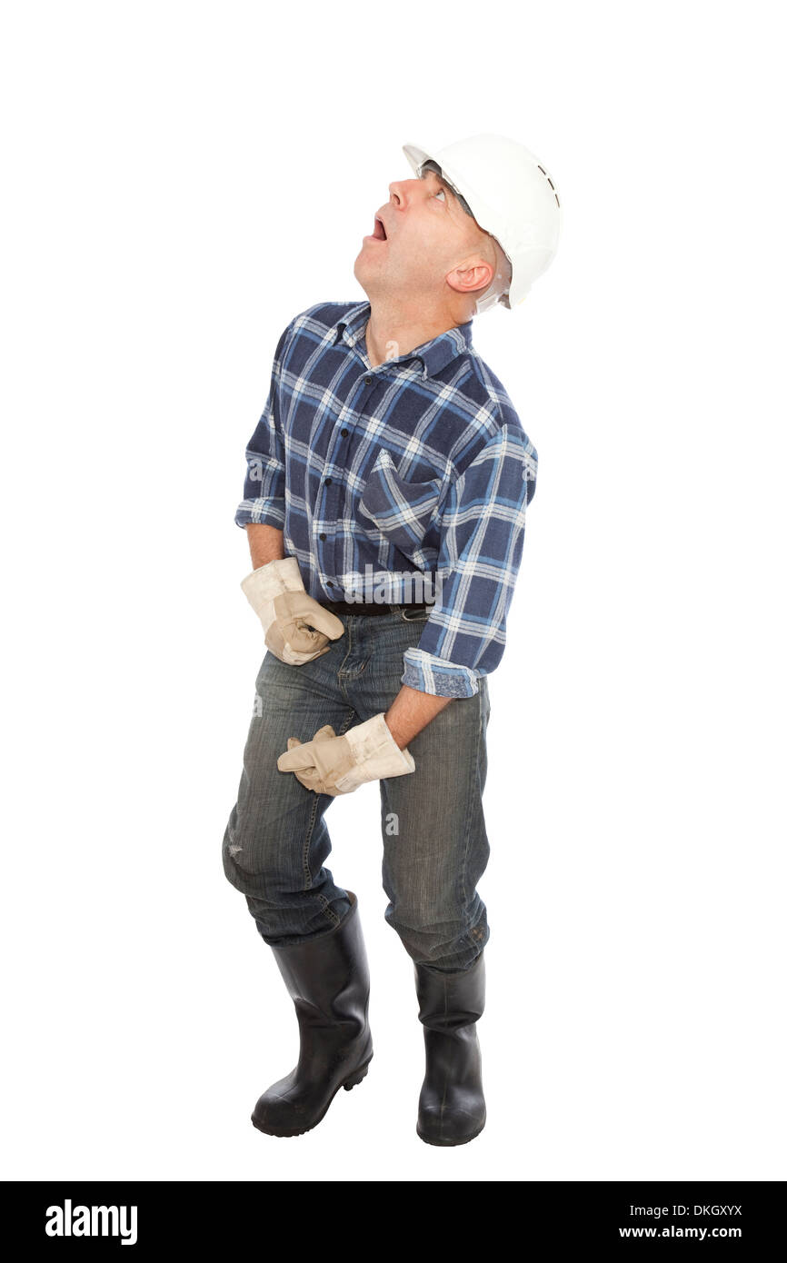 unemployed worker in gloves and helmet on white background - Stock Image