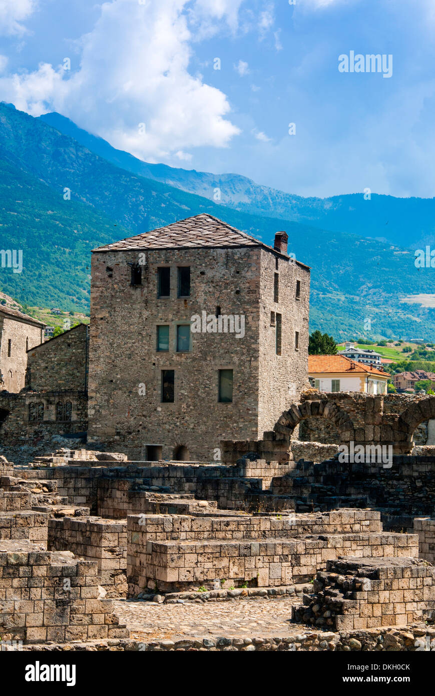 Roman Theater (Teatro Romano) and Fromage tower, Aosta, Aosta Valley, Italian Alps, Italy, Europe - Stock Image